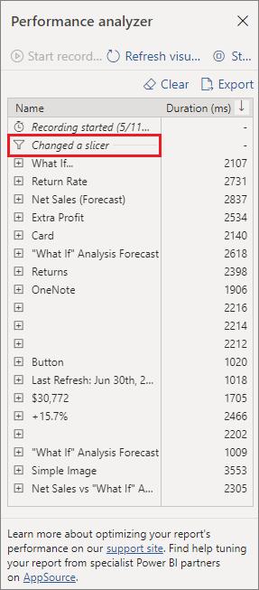 Performance Analyzer List