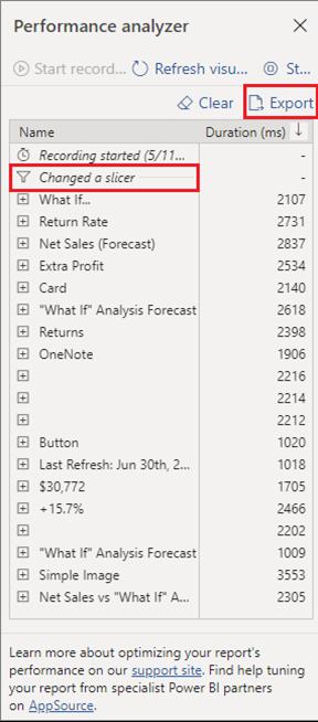 Performance Analyzer JSON Format